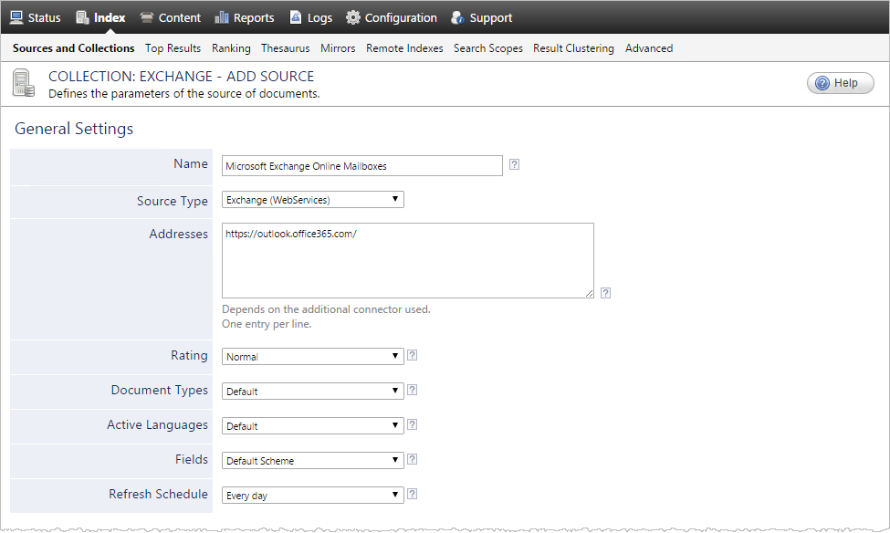 Configuring and Indexing Microsoft Exchange Sources for an Online ...