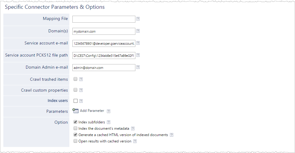 Configuring and Indexing a Google Drive for Work Compact Source