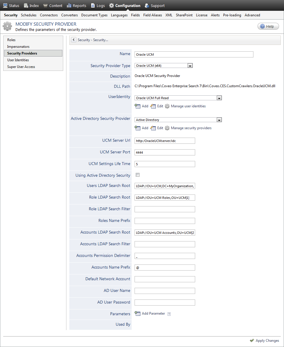 Configuring an Oracle UCM Security Provider - Coveo Platform