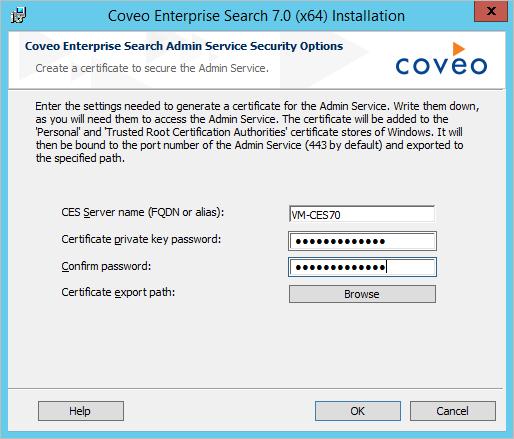 Installing CES on the Master Server - Coveo Platform 7 - Online Help