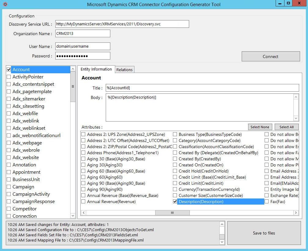 Using the Microsoft Dynamics CRM Connector Configuration