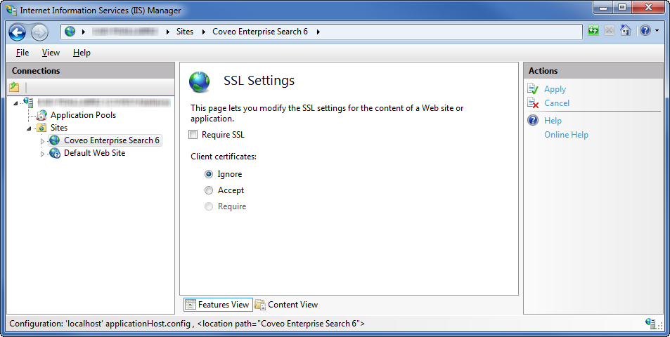 Enabling SSL in IIS - Coveo Platform 7 - Online Help
