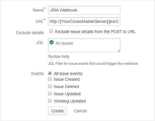 Creating a Jira Software Webhook - Coveo Platform 7 - Online