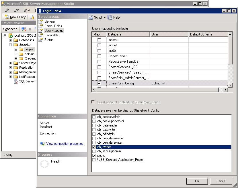 Adding the Database Owner Role for Microsoft SQL Server
