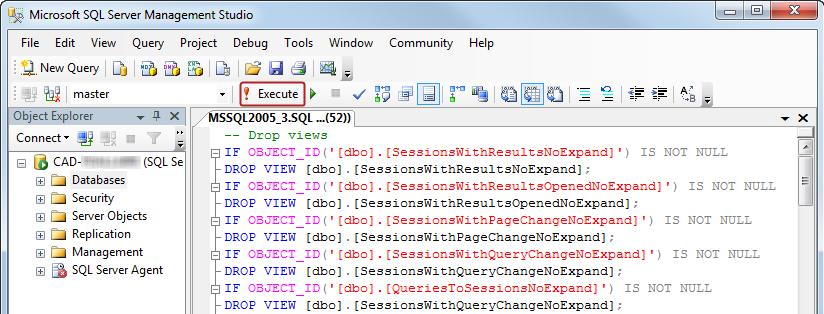 Running a Script in Microsoft SQL Server - Coveo Platform 7