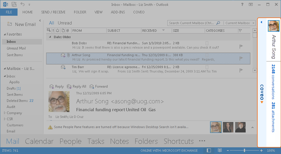 Showing or Hiding the Coveo Sidebar in Outlook - Coveo