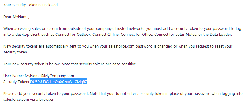 Getting the Security Token for Your Salesforce Account